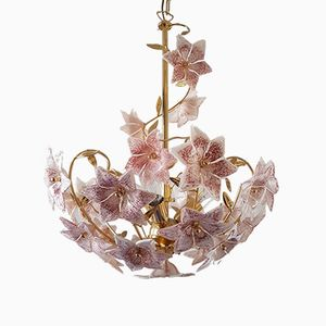 Gold Plated Chandelier with Murano Glass Flowers from S.A.L.I.R. Murano, 1980s