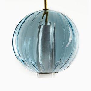Moire Kollektion Kugel Hängelampe in Meeresblau von Atelier George