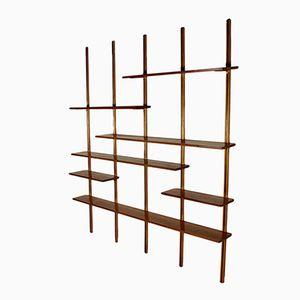 Mid-Century Adjustable Maple & Brass Bookcase