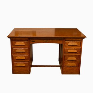 Functionalist Oak Desk with 9 Drawers, 1920s
