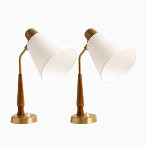Mid-Century Teak & Brass Table Lamps by Hans Bergström for Ateljé Lyktan, Set of 2