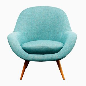 Ball Chair in Turquoise Blue Fabric, 1950s