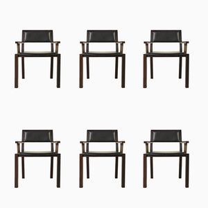 Wenge & Leather Side Chairs by Jean Michel Wilmotte for Tecno, 1990s, Set of 6