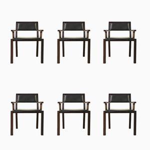 Wenge & Leder Beistellstühle von Jean Michel Wilmotte für Tecno, 1990er, 6er Set