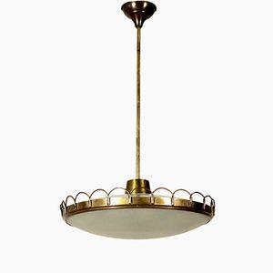 Brass & Glass Pendant Lamp, 1950s