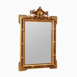 Vergoldeter italienischer Mid-Century Spiegel aus Holz & Gips