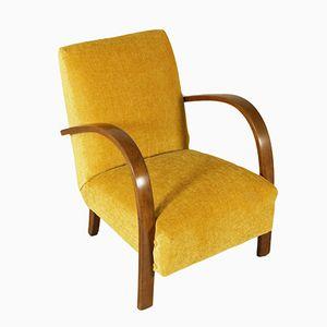 Fabric & Beech Armchair, 1940s