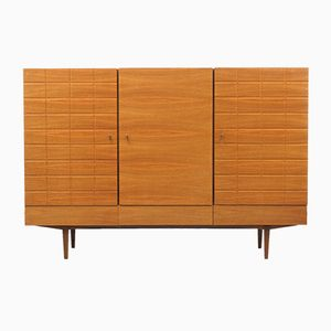 Walnuss Highboard mit Relief Türen, 1960er