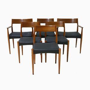 Mid-Century 4 Teak Dining Chairs & 2 Armchairs by Arne Hovmand Olsen for Mogens Kold