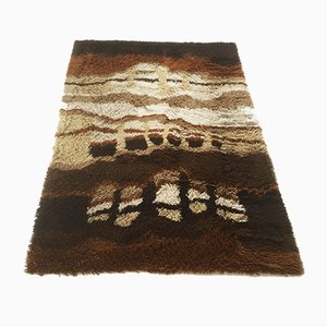 Vintage Multicolor Abstract High Pile Rya Rug from Desso, 1970s