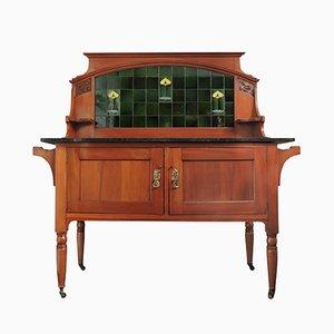Table de Toilette Art Nouveau Carrelée en Chêne & Marbre