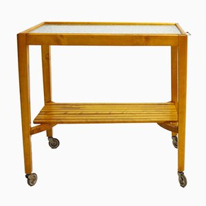 Birch Trolley with Hard Glass Top, 1940s