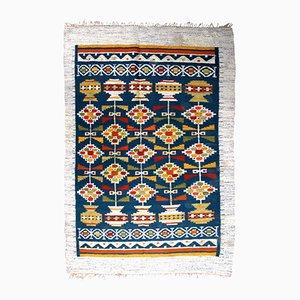 Tappeto Kilim vintage a tessitura piatta fatto a mano, Scandinavia, anni '50