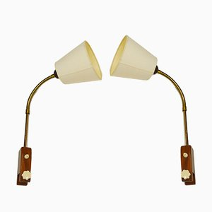 Mid-Century Teak Bedside Lamps, Set of 2