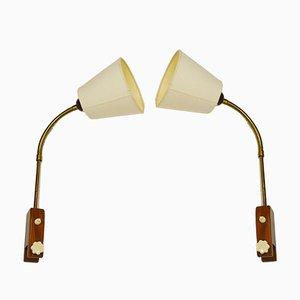 Mid-Century Teak Nachttischlampen, 2er Set