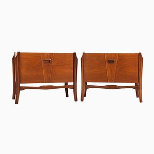 Teak Veneer Bedside Tables or Nightstands, 1960s, Set of 2