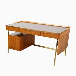 Desk in Walnut and Brass by Erwin Behr, 1950s