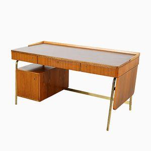 Schreibtisch aus Walnuss & Messing von Erwin Behr, 1950er