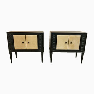 Art Deco Style Bedside Tables in Parchment, 1940s, Set of 2