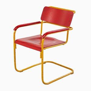 Stuhl im Bauhaus Stil in Rot & Blau, 1960er