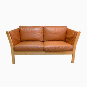Vintage Danish Leather Two-Seater Sofa