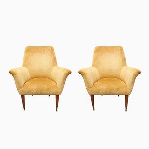 Mid-Century Italian Armchairs in Golden Velvet, 1950s, Set of 2