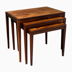 Danish Rosewood Nesting Tables by Bent Silberg, 1970s