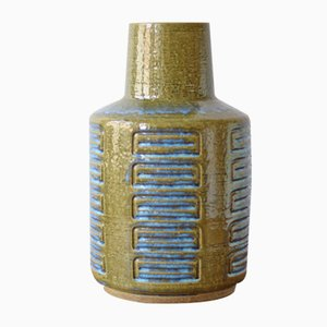 Große skandinavische Vase in Moosgrün & Blau von Per Linnemann-Schmidt für Palshus, 1960er
