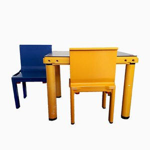 Vintage Kartell School Chairs and Desk by Masayuki Matsukaze for Kartell, 1978