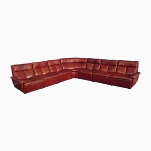Modular Red Leather Sofa, 1970s