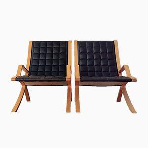 Dänische Vintage Sessel von Orla Mølgaard-Nielsen für Fritz Hansen, 1980er, 2er Set