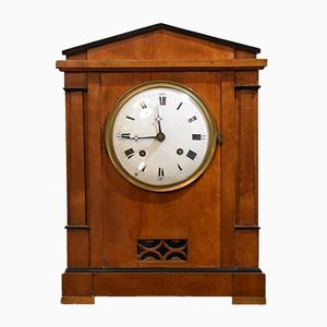 19th-Century Biedermeier Mantel Clock in Cherry