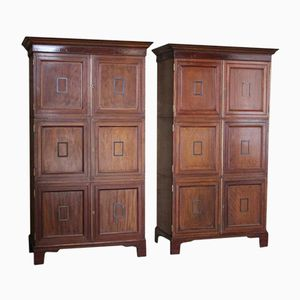 Mahogany Cabinets from The British Museum, 1910s, Set of 2