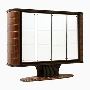 Rosewood and Mirror Bar Cabinet with a Red Travertine Marble Base by Vittorio Dassi, 1950s