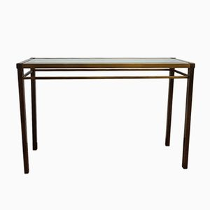 Vintage Brass & Cut Glass Console Table, 1980s