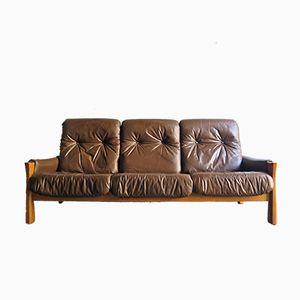 Eichenholz Vintage Drei-Sitzer Sofa mit Kunstleder Kissen