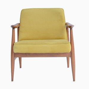 Vintage Samt Sessel von J. Kedziorek