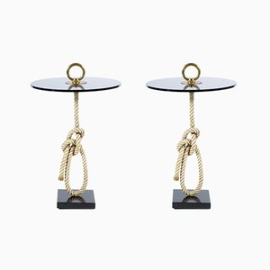 Mid-Century Italian Rope Side Tables with Bronze Handles by Banci, 1960s, Set of 2