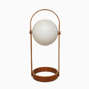 Vintage Danish Plywood Globe Floor Lamp, 1960s