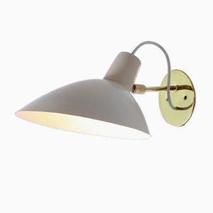 Italienische Visor Wandlampe aus Messing & weißem Lack von Arteluce, 1950er