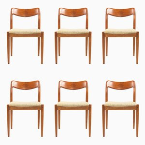 Vintage Teak Esszimmerstühle von Johannes Andersen für Uldum, 1960er, 6er Set