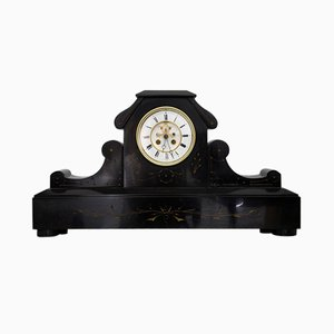 Art Nouveau Black Marble Mantel Clock, 1910s