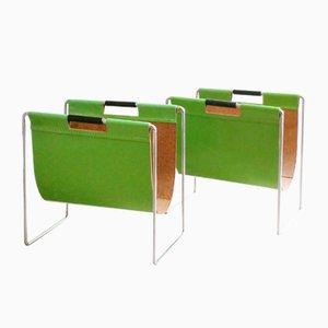 Apfelgrüne Zeitschriftenständer aus Leder und Chrom von Brabantia, 1970er, 2er Set