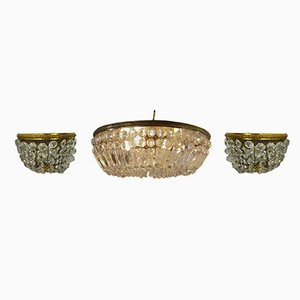 Hollywood Regency Brass & Crystal Glass Chandelier & 2 Sconces, 1970s