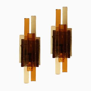 Vintage Danish Glass Wall Lamps from Holm Sørensen & Co, 1970s, Set of 2