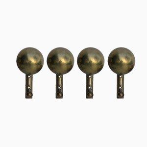 Vintage Brass Wall Hooks, Set of 4