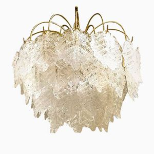 Chandelier with Frosted Murano Glass Leaves from Mazzega, 1960s