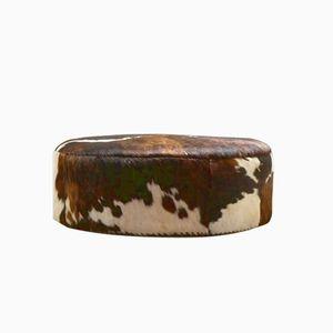Pouf grande rotondo in pelle di mucca, Paesi Bassi, anni '70
