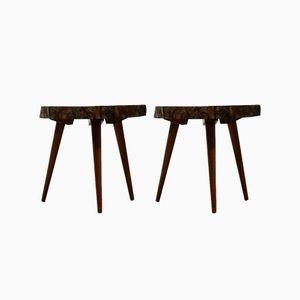 Mid-Century Mahagoni Holz Dreibein Beistelltische, 1952, 2er Set