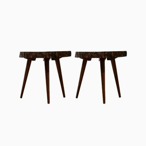 Mid-Century Mahogany Wood Trunk Tripod Side Tables, 1952, Set of 2